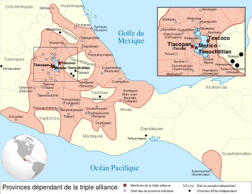 A map indicating the maximum extent of the Aztec civilization which flourished between c. 1345 and 1521 CE in what is now Mexico. The three major cities which formed the Aztec Triple Alliance were Tenochtitlan, Texcoco and Tlacopan.