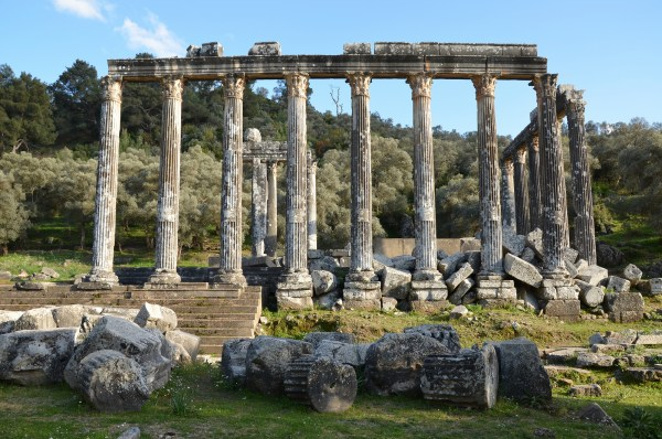 Temple of Zeus Lepsynus at Euromos, built in the 2nd century AD on the site of an earlier Carian temple.