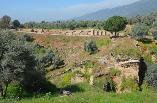 The Stadium of Nysa, built at the foot of the gorge with rows of seats cut into the steep hillside and dated to Late Hellenistic period.