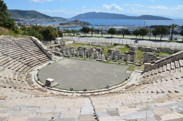 The theatre of ancient Halicarnassus, built in the 4th century BC during the reign of King Mausolos and enlarged in the 2nd century AD, the original capacity of the theatre was 10,000.