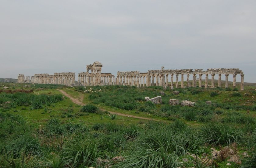 The colonnade at Apamea, following Cardo Maximus. It was built in 2nd century CE. This huge boulevard was 2 km long. Photo © Mina Bulic.