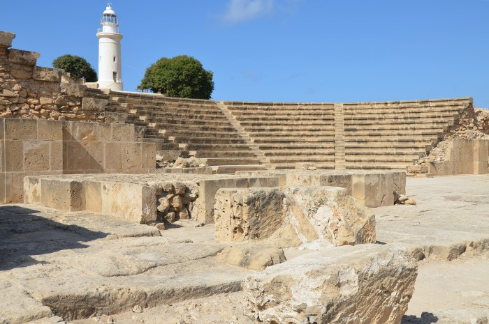 The Odeon located in the northeastern part of the ancient city. Built in the 2nd century AD, it held approximately 1,200 spectators, Paphos Archaeological Park