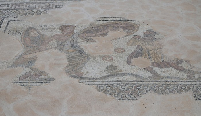 Mosaic floor depicting the unmasking of Achilles by Odysseus on the island of Skyros, 4th century AD, Kourion