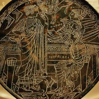 """Etruscan mirror, c. 475-450 BCE. The inscription says: """"Turan Elena Hermione Alexander."""" Seen during our Rome visit."""