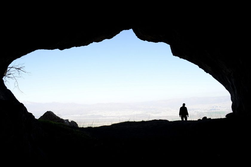 The entrance/mouth of the dark cave of Hazar Merd, shooting from inside. Photo © Osama S. M. Amin.