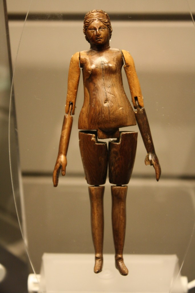 A Roman ivory doll from the mid-2nd century CE. From the 'Grottarossa Mummy' sarchophagus, Rome. (Palazzo Massimo, Rome)