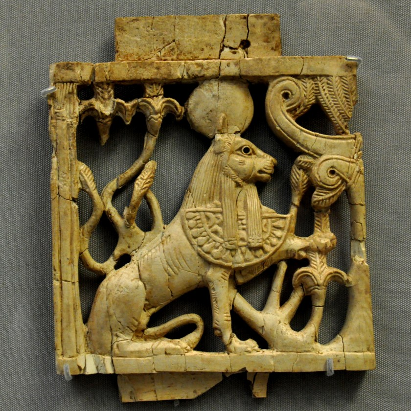 """This ivory plaque is part of the so-called """"Nimrud Ivories."""" The sphinx wears the typical Egyptian Pharaohs' double crown and an apron with cobra. This indicates that the plaque was made by a Phoenician craftsman. From Nimrud (ancient Kalhu) northern Mesopotamia, Iraq. Neo-Assyrian period, 911-612 BCE. (The British Museum, London)."""