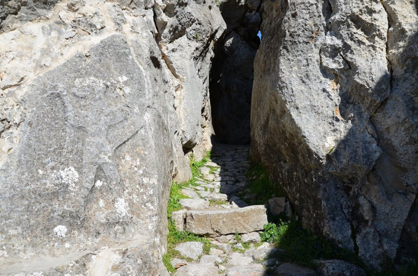 Entrance to Chamber B with a Hittite relief of a winged, lion-headed demon.