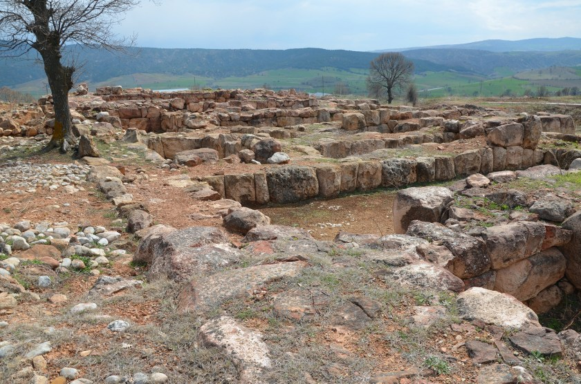 """The foundations of """"Building A"""" made with blocks of limestone and sandstone. Hittite"""