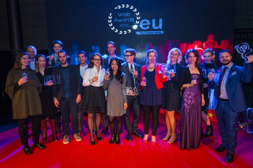 All of the .eu Web Award winners on stage.