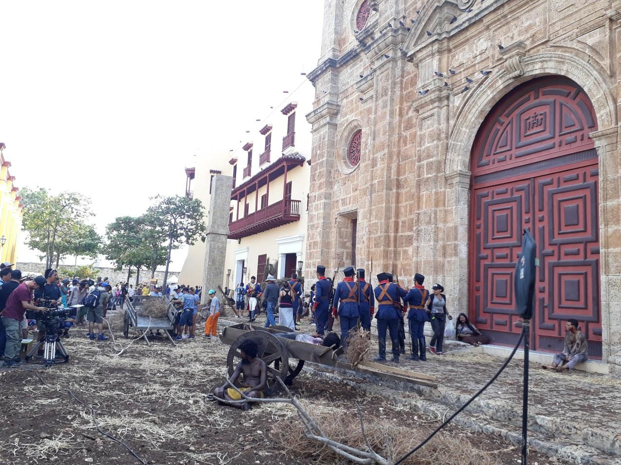 Tournage d'une télé-novela devant une des plus belles églises de Carthagène.