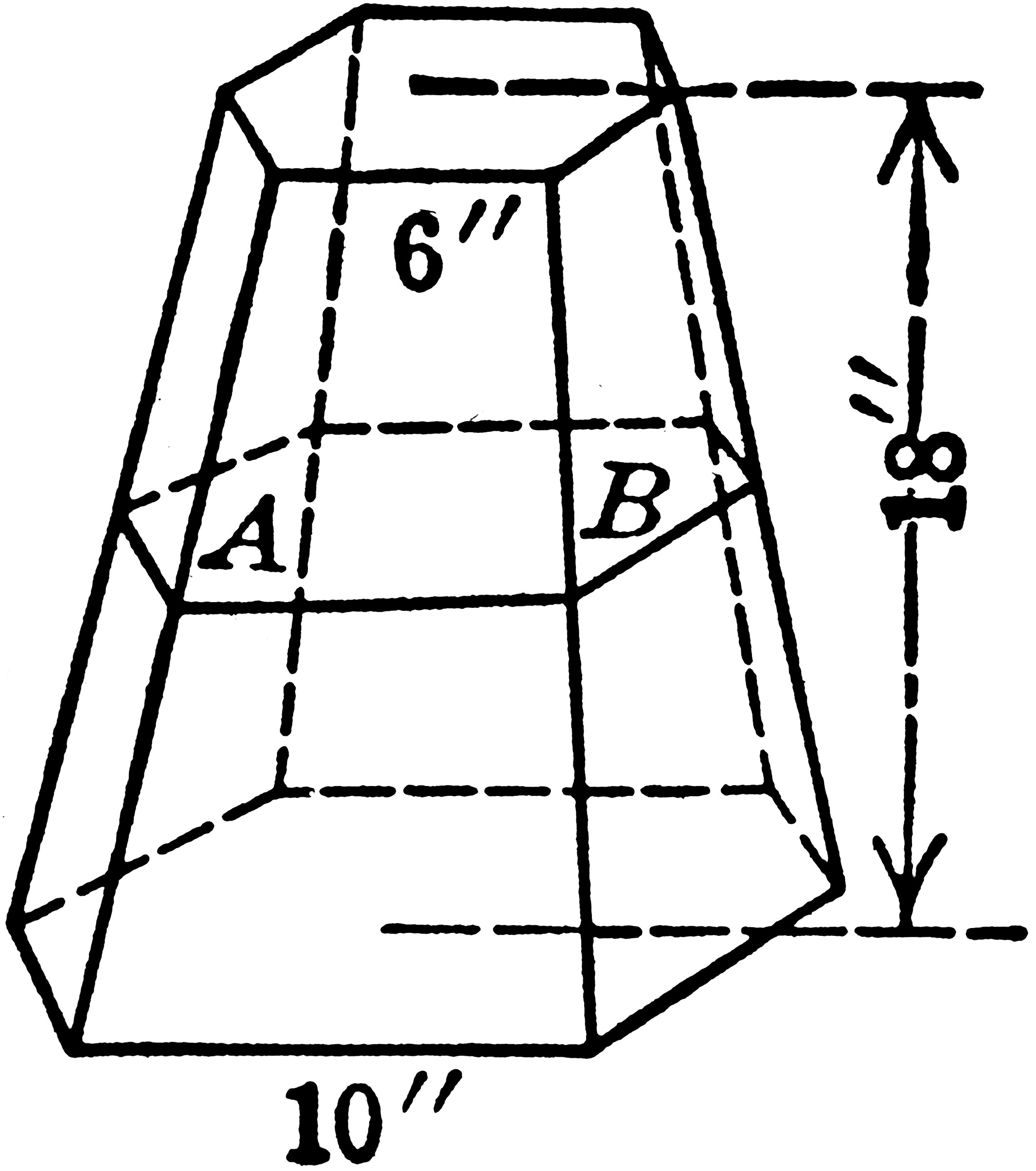 Pyramid Frustum With Hexagonal Bases and 6 inch and 10