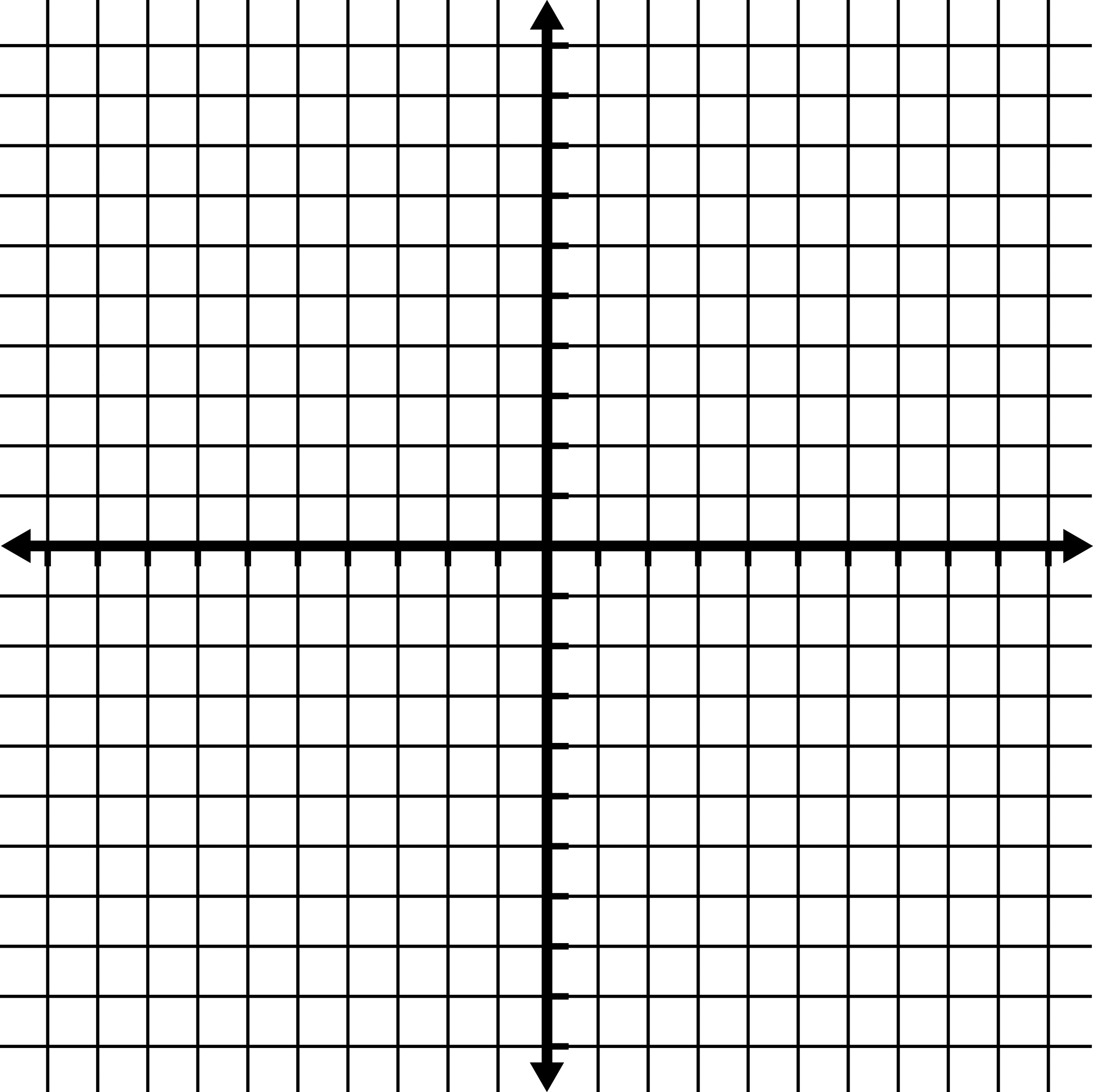 -10 To 10 Coordinate Grid With Grid Lines Shown, But No