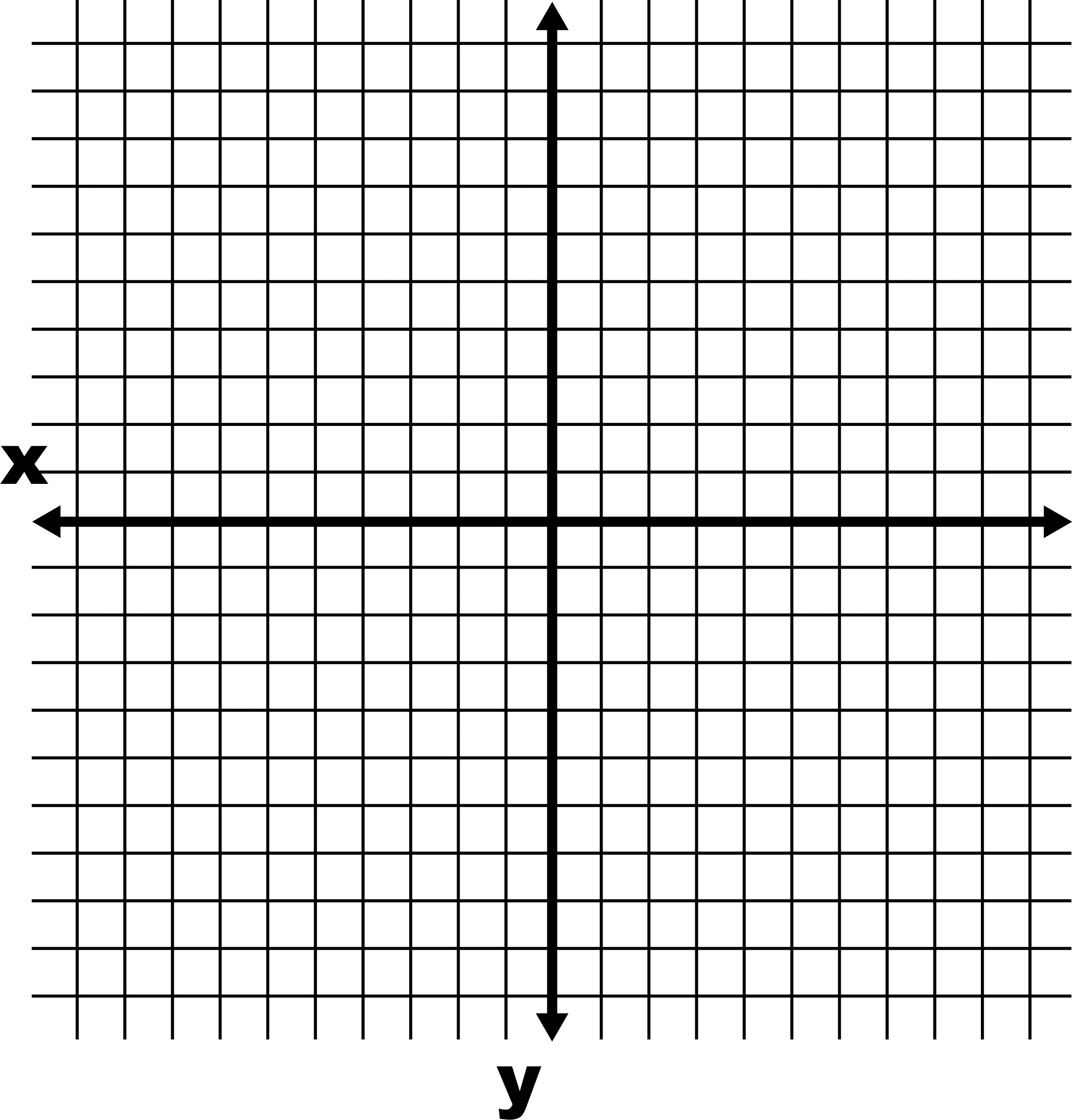 Coordinate Grid With Axes Labeled And Grid Lines Shown