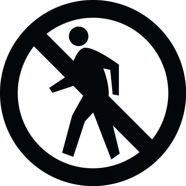 No Pedestrian Crossing Sign