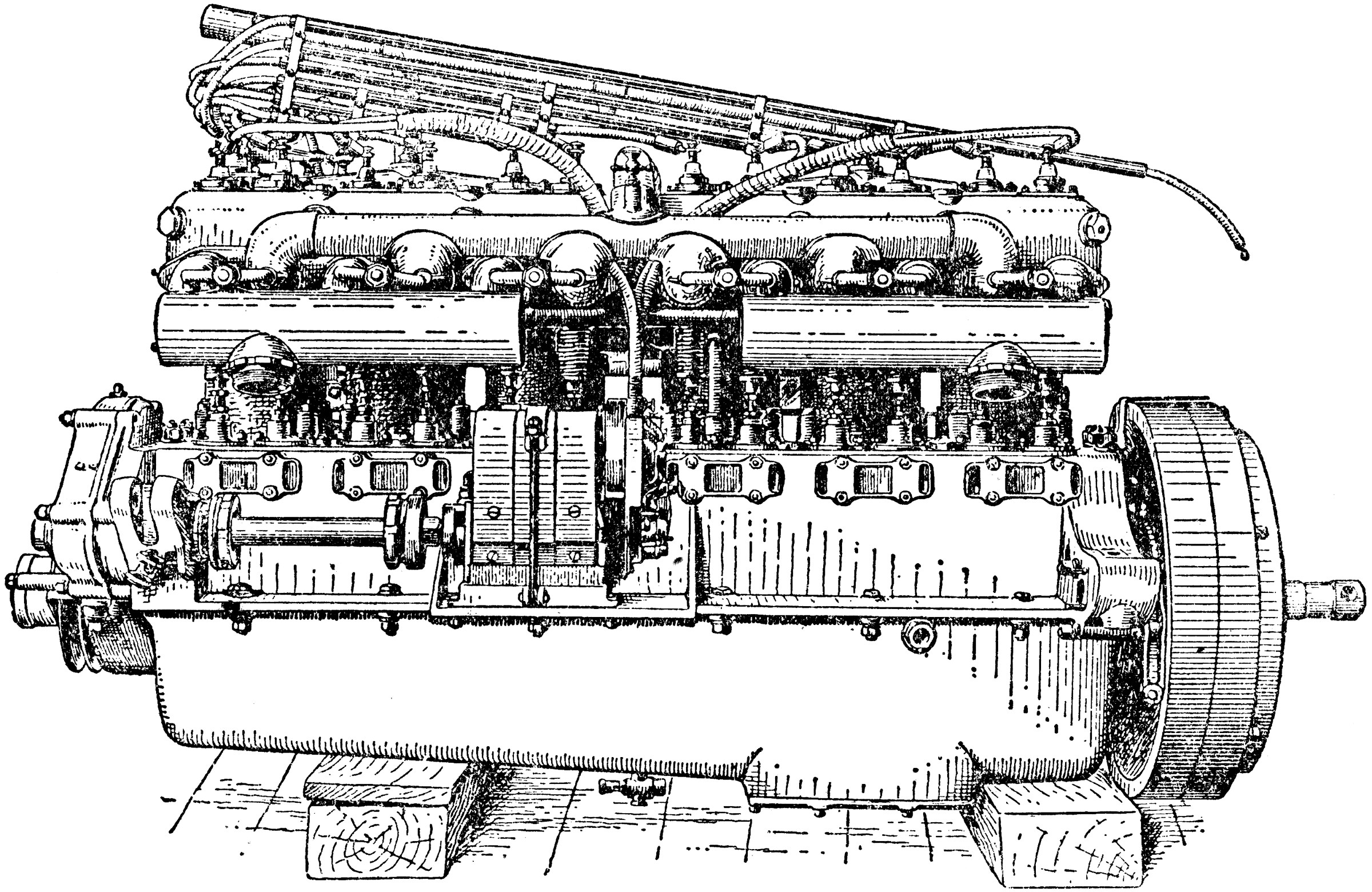 Valve Side View of Six Cylinder Rolls Royce Engine