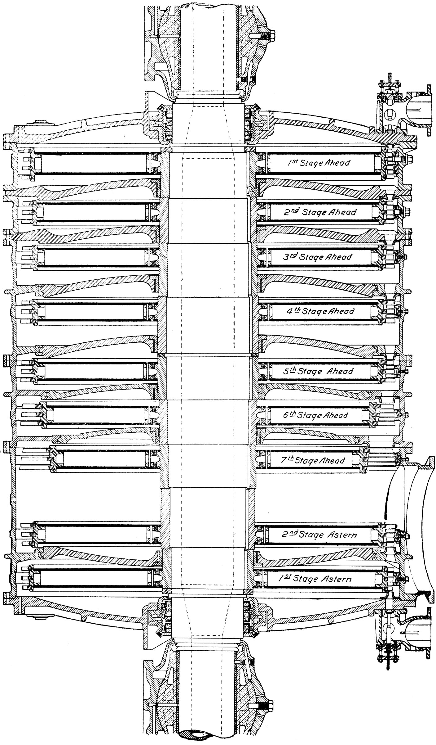 Cross Sectional View of U.S.S Salem Steam Engine Showing