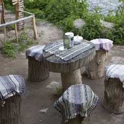 Tree Stump Chairs Armless Slipper Chair Around A Circular Wooden Table In The Ihlara Valley Of Turkey