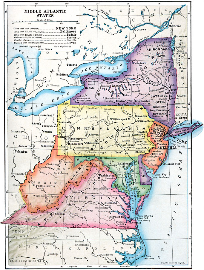 Map Of Middle Atlantic States : middle, atlantic, states, Middle, Atlantic, States, World, Atlas