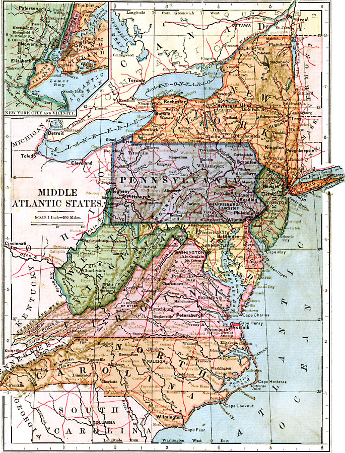 Map Of Middle Atlantic States : middle, atlantic, states, Middle, Atlantic, States,, Showing, Physical, Features, Insert, Vicinity.
