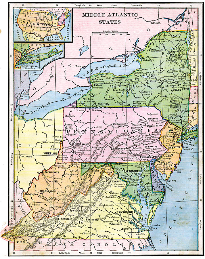 Map Of Middle Atlantic States : middle, atlantic, states, Middle, Atlantic, States,, Showing, Physical, Features., Includes, Insert, Island.