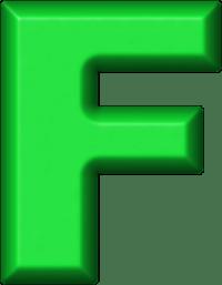 Presentation Alphabets: Green Refrigerator Magnet F