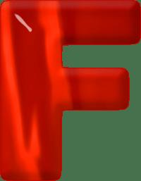 Presentation Alphabets: Red Glass Letter F