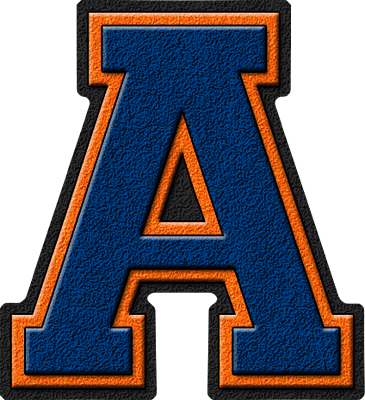 Presentation Alphabets Royal Blue  Orange Varsity Letter A