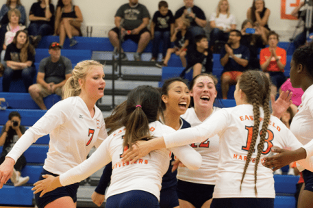 Eastfield players celebrate after defeating Brookhaven Oct. 29 to win the Metro Athletic Conference tournament. Photo by Ahmad Ashor