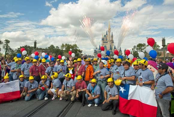 Chilean miners in front of Cinderella Castle