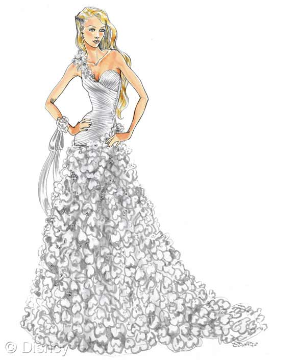 Rapunzel gown sketch
