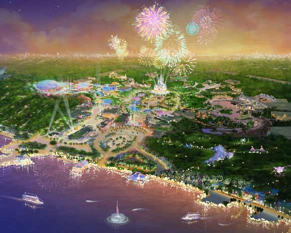 Illustration of park with fireworks