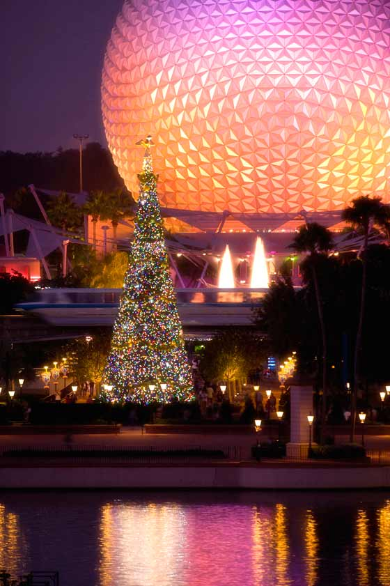 Christmas tree in front of Spaceship Earth