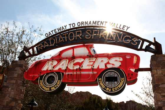 Radiator Springs Racers signage