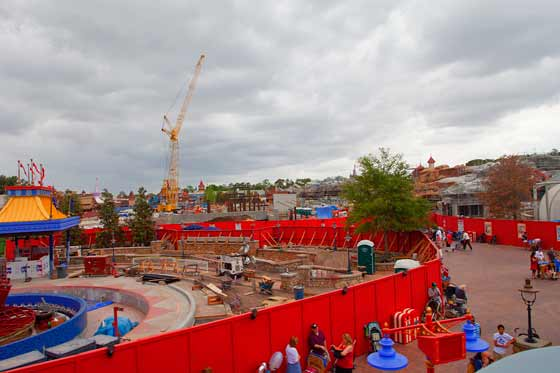 Aerial view of the construction of the New Fantasyland
