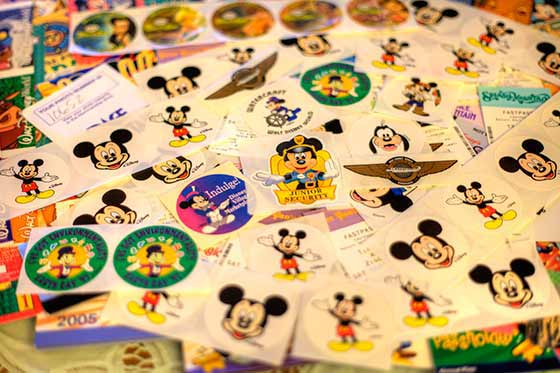 A small portion of stickers that you might find on your vacation at the Walt Disney World® Resort.