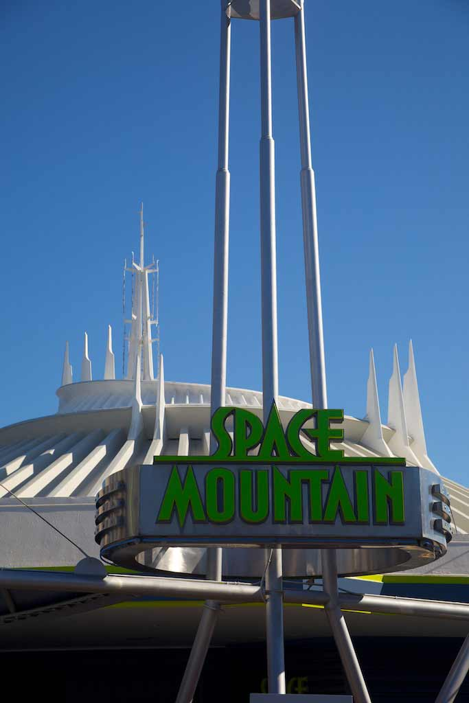 Signage in front of Space Mountain