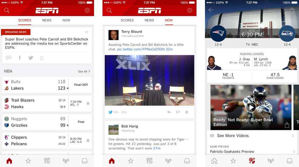 ESPN app screenshots for the iPhone