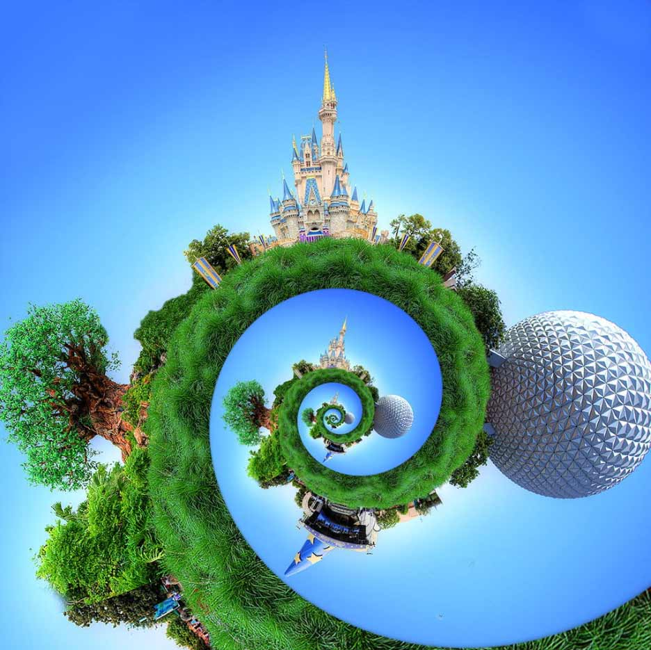 Droste image of the four icons of the parks at The Walt Disney World Resort
