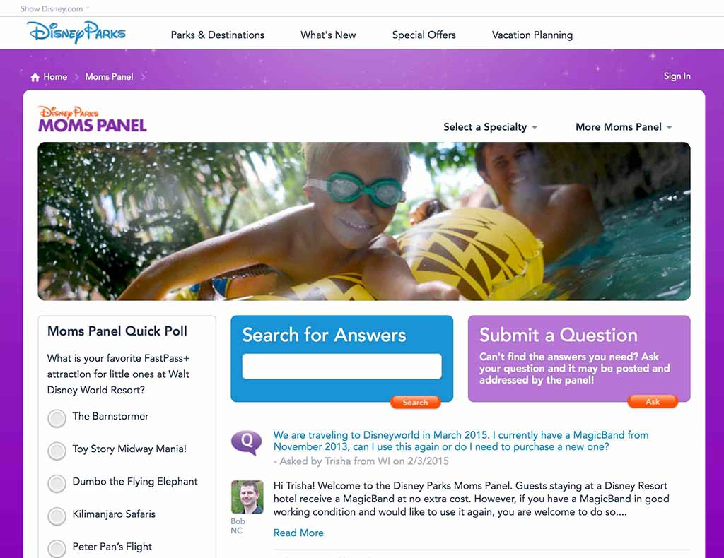 Disney Parks Moms Panel website screenshot