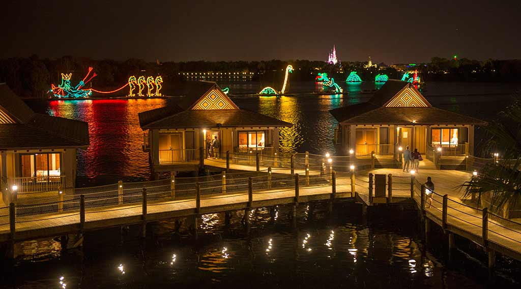Nighttime view of the bungalows