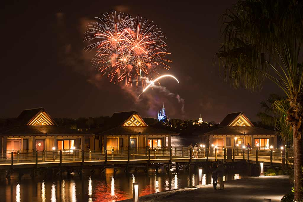 Fireworks over the bungalows