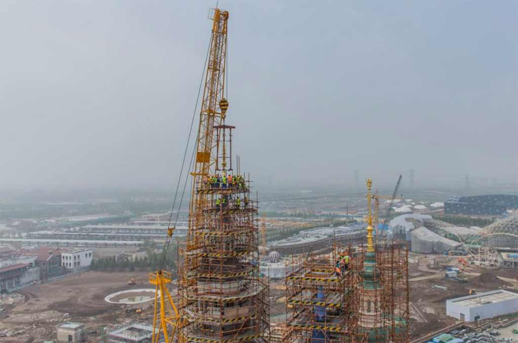 Enchanted Storybook Castle topping off at Shanghai Disney Resort