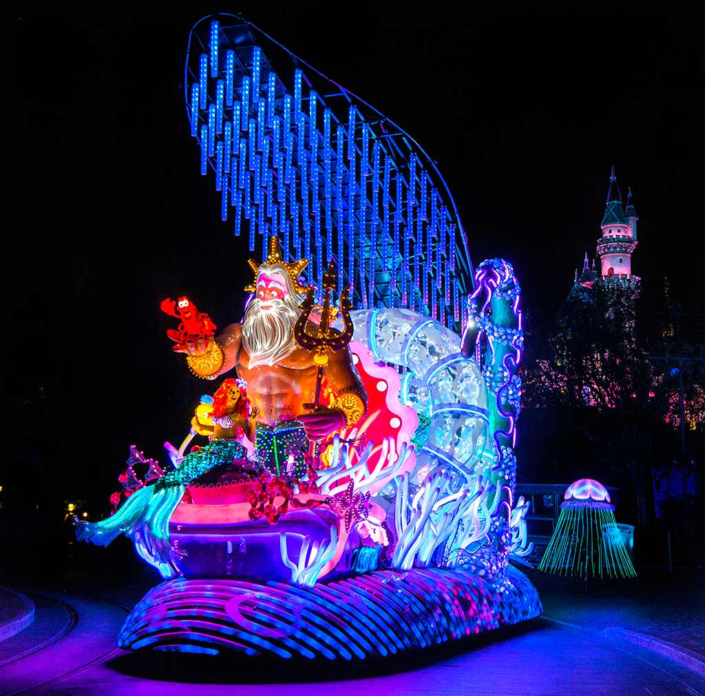 Ariel and King Triton on a parade float