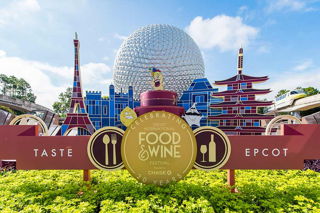 20th annual Epcot Food and Wine signage welcomes guests to Epcot