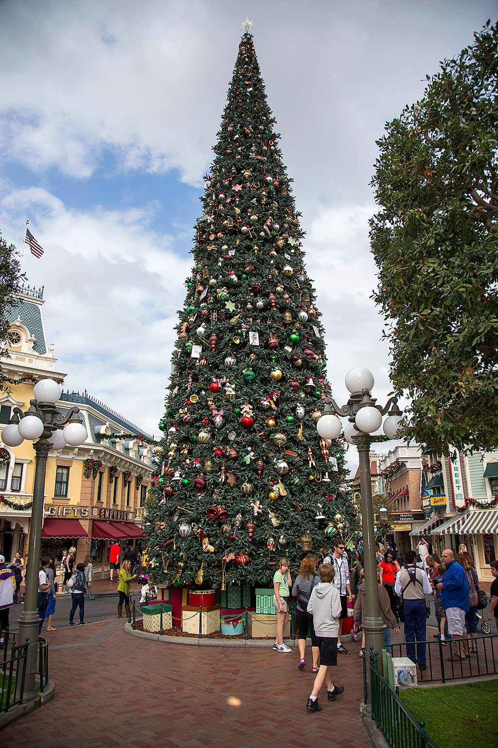 Christmas tree on Main Street U.S.A. in Disneyland