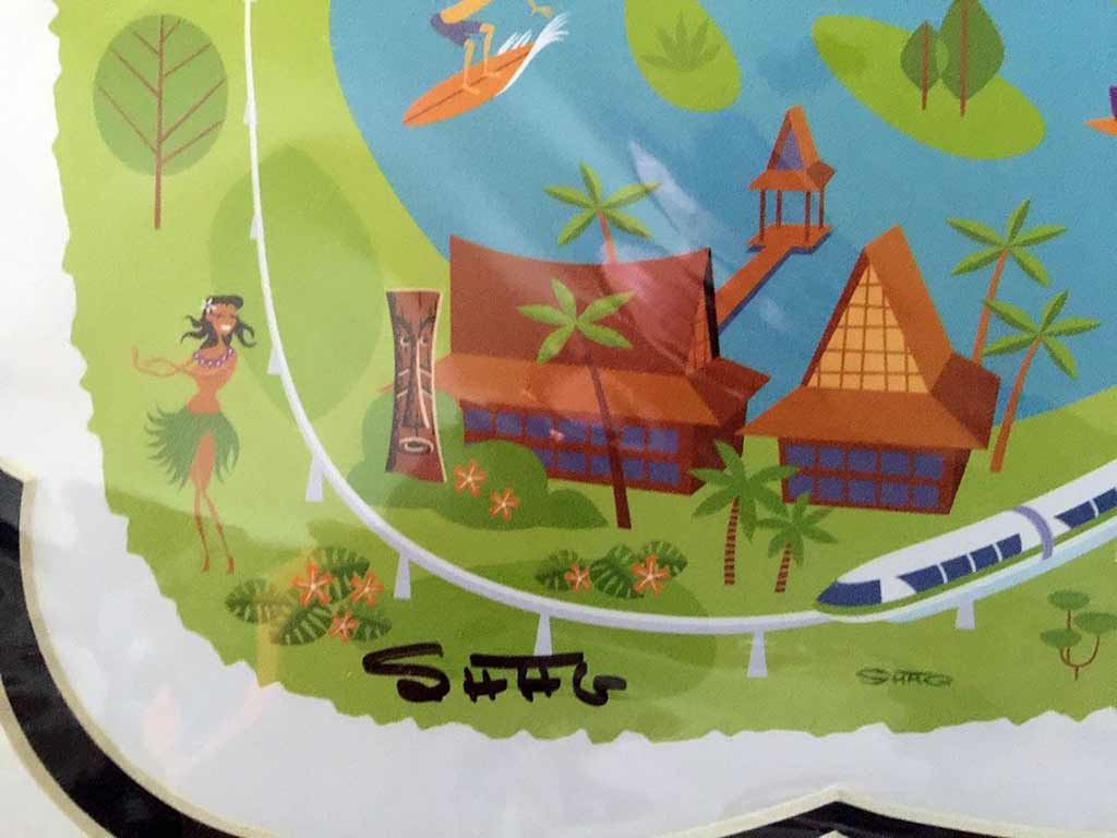 SHAG signed Walt Disney World 40th Anniversary map