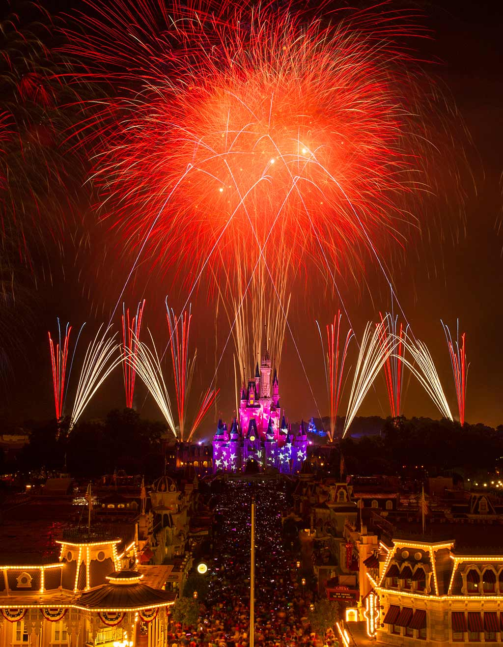 View of Magic Kingdom fireworks from Main Street U.S.A.