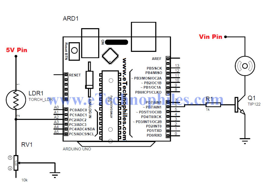 Circuit of Automated Speed Motor Control using LDR based Arduino project