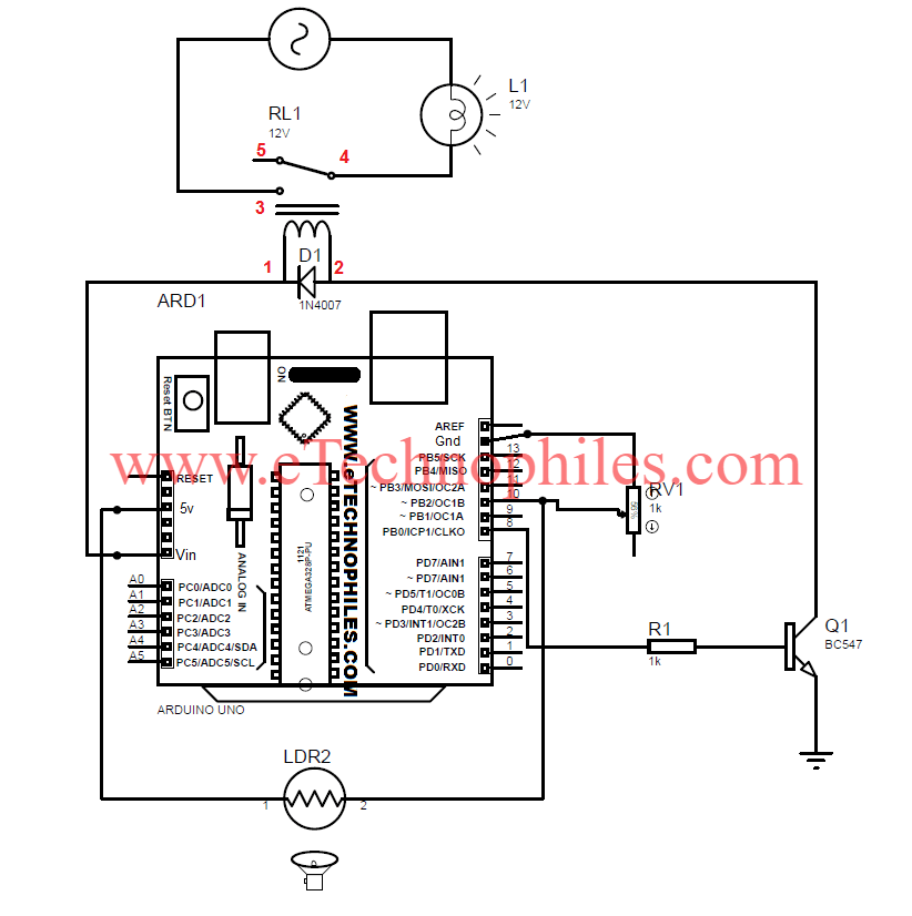 Automatic Street Light Project using LDR with Arduino Circuit